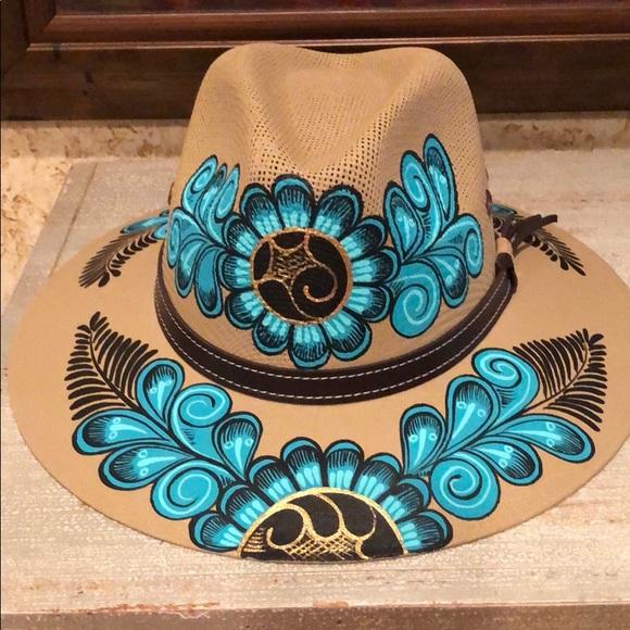 Hand Painted Tan/Teal Artistic Medium vacation Hat